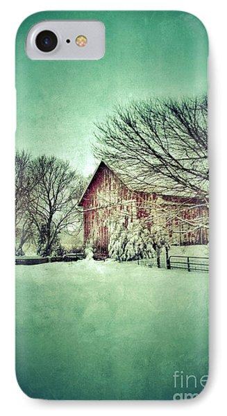 Red Barn In Winter Phone Case by Jill Battaglia