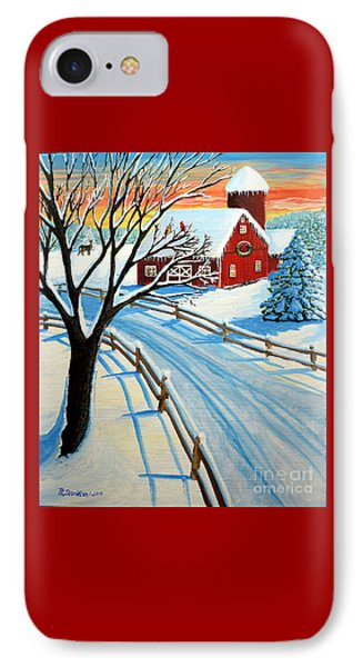 Red Barn In Winter IPhone Case by Patricia L Davidson