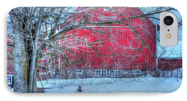Red Barn In Winter IPhone Case by Terri Gostola