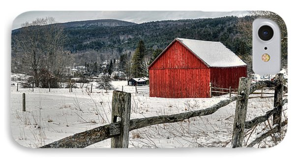 Red Barn In Winter - Tyringham Cobble IPhone Case