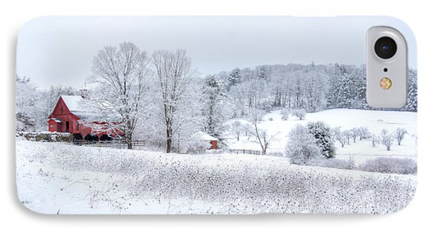 Red Barn In Winter Wonderland Phone Case by Donna Doherty