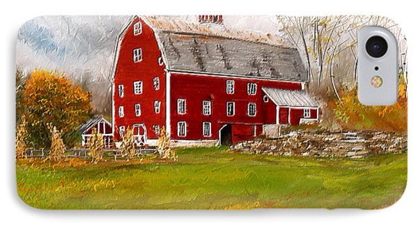 Red Barn In Woodstock Vermont- Red Barn Art IPhone Case by Lourry Legarde