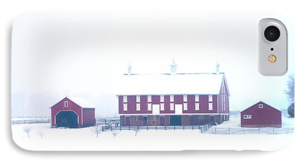Red Barn On A Snowy Day - Gettysburg IPhone Case by Bill Cannon