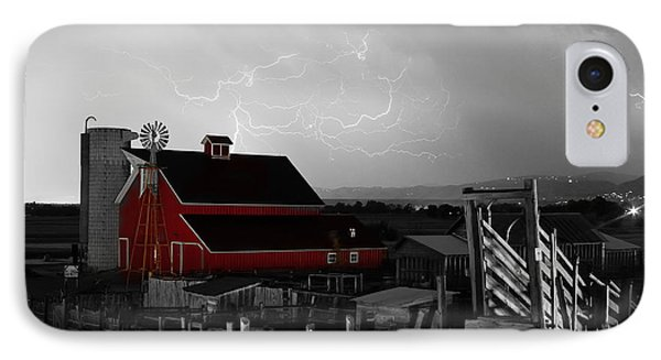 Red Barn On The Farm And Lightning Thunderstorm Bwsc Phone Case by James BO  Insogna