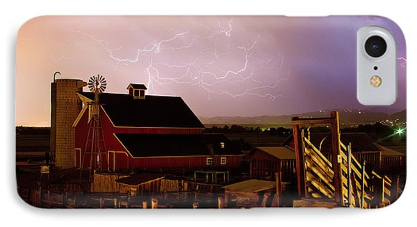 Red Barn On The Farm And Lightning Thunderstorm Phone Case by James BO  Insogna