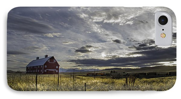 IPhone Case featuring the photograph Red Barn Southbound Train by Kristal Kraft