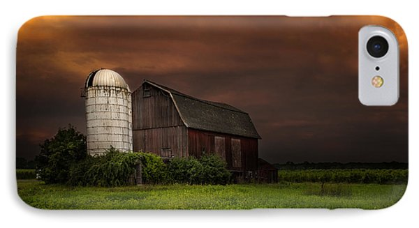 Red Barn Stormy Sky - Rustic Dreams IPhone Case by Gary Heller