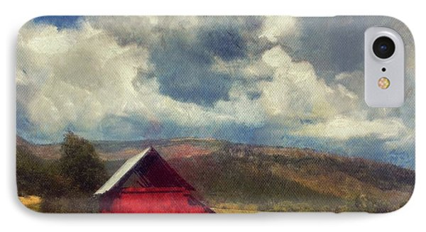 Red Barn Under Cloudy Blue Sky In Colorado IPhone Case
