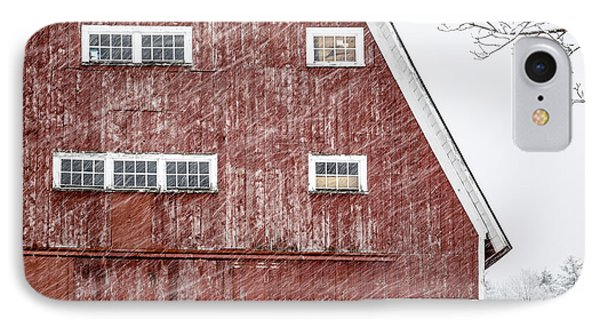 Red Barn Whiteout IPhone Case by Edward Fielding