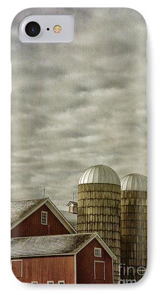 Red Barn With Two Silos IPhone Case by Birgit Tyrrell