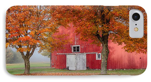 IPhone Case featuring the photograph Red Barn With White Barn Door by Jeff Folger