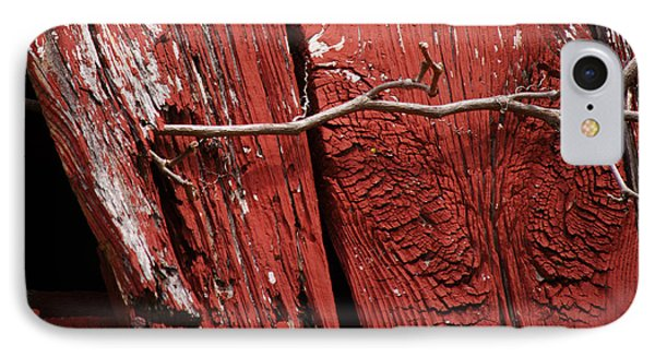 IPhone Case featuring the photograph Red Barn Wood With Dried Vine by Rebecca Sherman