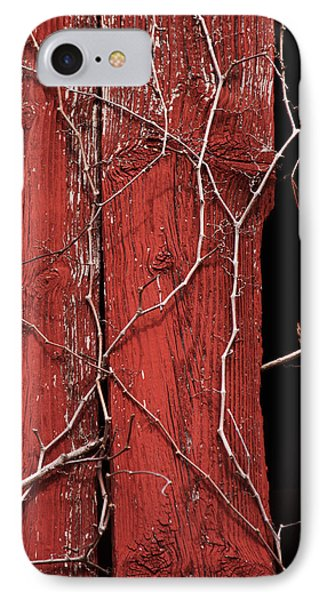 IPhone Case featuring the photograph Red Barn Wood With Dried Vines by Rebecca Sherman