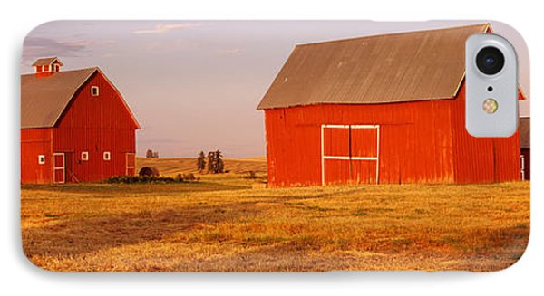 Red Barns In A Farm, Palouse, Whitman IPhone Case by Panoramic Images