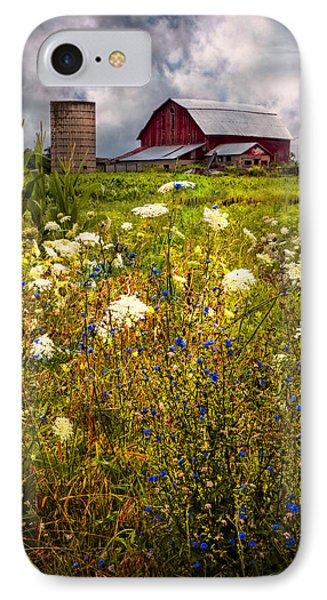 Red Barns In The Wildflowers Phone Case by Debra and Dave Vanderlaan