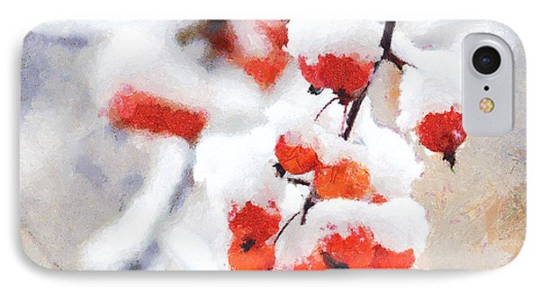 IPhone Case featuring the photograph Red Berries In The Snow - Greeting Card by David Perry Lawrence