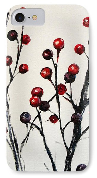 Red Berry Study Phone Case by Rebekah Reed