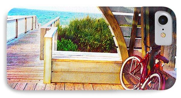 Red Bike On Beach Boardwalk IPhone Case by Jane Schnetlage