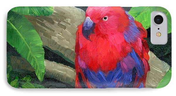 Parakeet iPhone 7 Case - Red Bird by Alice Leggett