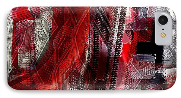 Red Black And White Abstract IPhone Case by Jessica Wright