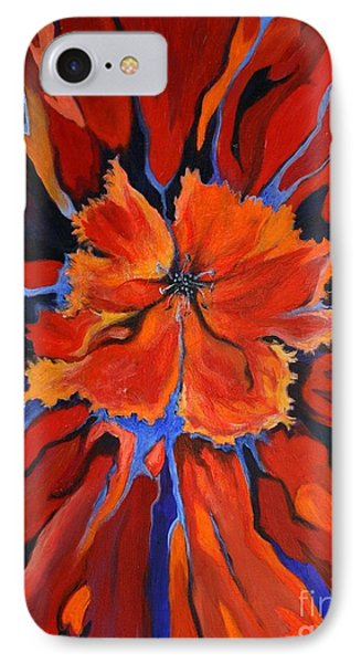 IPhone Case featuring the painting Red Bloom by Alison Caltrider