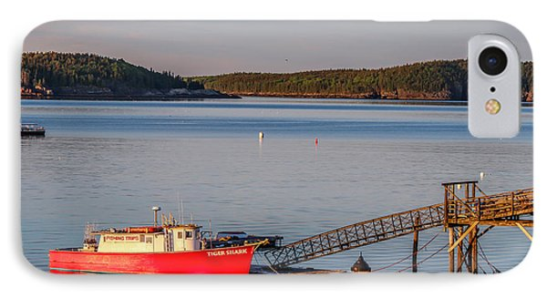 IPhone Case featuring the photograph Red Boat Bar Harbor Me by Trace Kittrell
