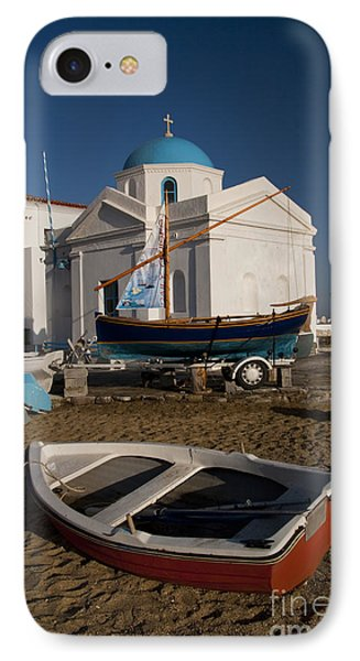 Red Boat In Mykonos At Dawn IPhone Case