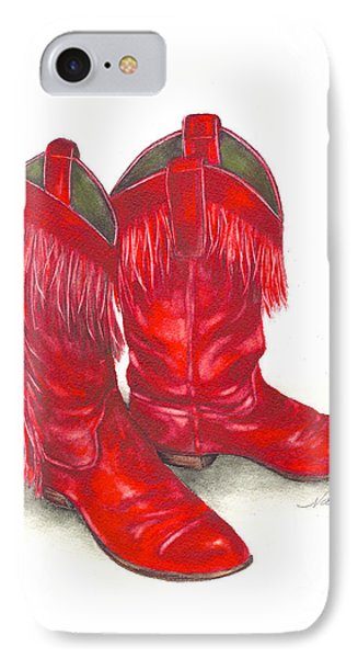 Red Boots IPhone Case by Nan Wright