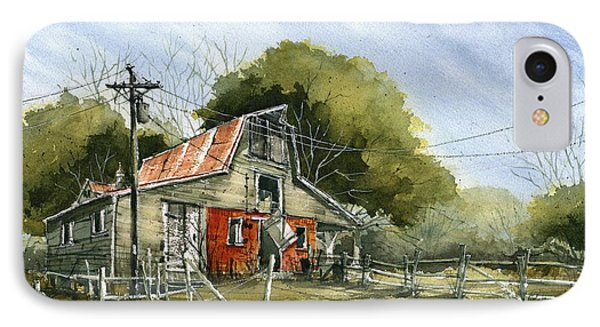 IPhone Case featuring the painting Red Brick Barn by Tim Oliver