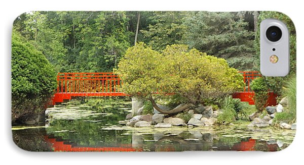 Red Bridge Reflection In A Pond IPhone Case by Erick Schmidt