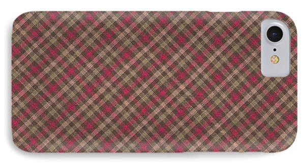 Red Brown And Green Diagonal Plaid Pattern Fabric Background IPhone Case