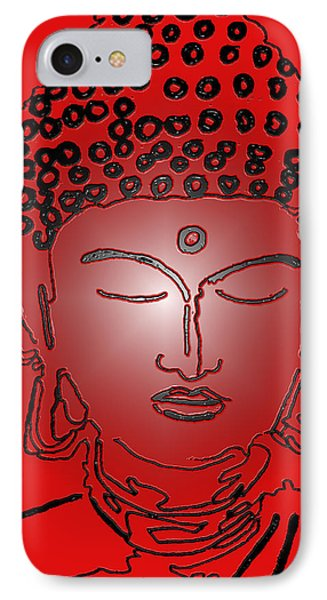 Red Buddha IPhone Case by Christine Perry