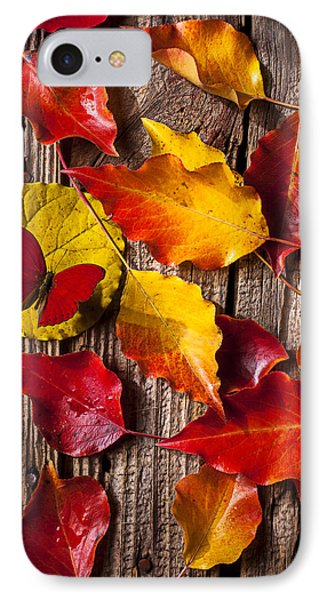 Red Butterfly In Autumn Leaves Phone Case by Garry Gay