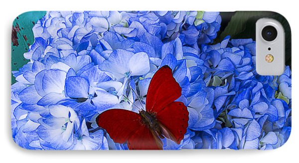 Red Butterfly On Blue Hydrangeas IPhone Case by Garry Gay