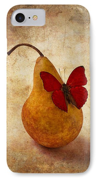 Red Butterfly On Pear IPhone Case by Garry Gay