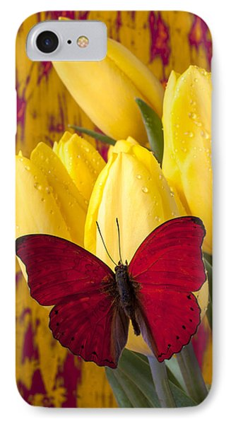 Red Butterfly Resting On Tulips Phone Case by Garry Gay