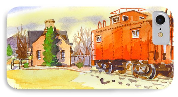 Red Caboose At Whistle Junction Ironton Missouri IPhone Case