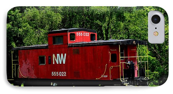 IPhone Case featuring the photograph Red Caboose by Cathy Shiflett