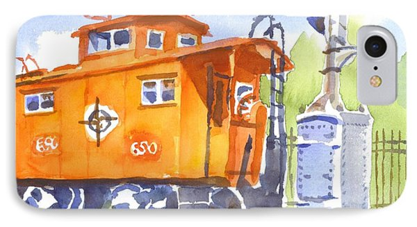Red Caboose With Signal  Phone Case by Kip DeVore