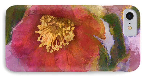 Red Camelia In A Winter Coat Phone Case by Terry Rowe