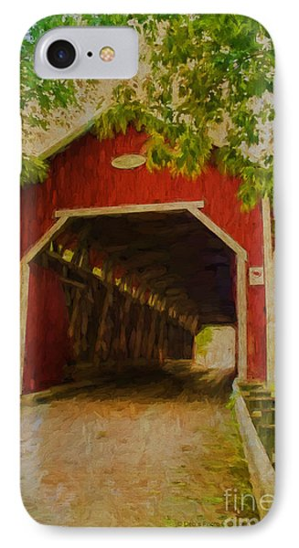 Red Canadian Bridge IPhone Case by Deborah Benoit