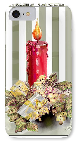IPhone Case featuring the digital art Red Candle by Arline Wagner