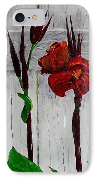 Red Canna Lily IPhone Case by Melvin Turner