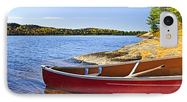 Red Canoe On Shore IPhone Case by Elena Elisseeva