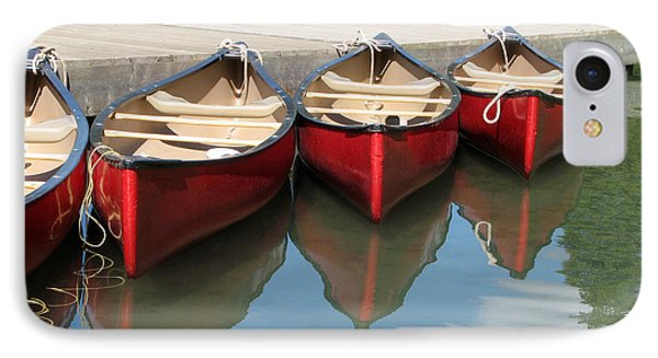 IPhone Case featuring the photograph Red Canoes by Marcia Socolik