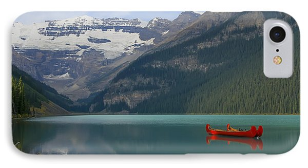 Red Canoes On Lake Louise Phone Case by Teresa Zieba