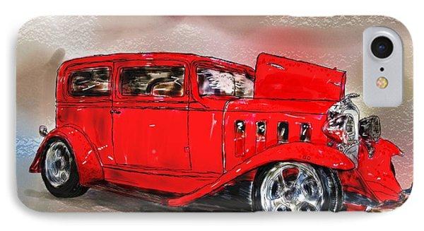 Red Car IPhone Case by Debra Baldwin