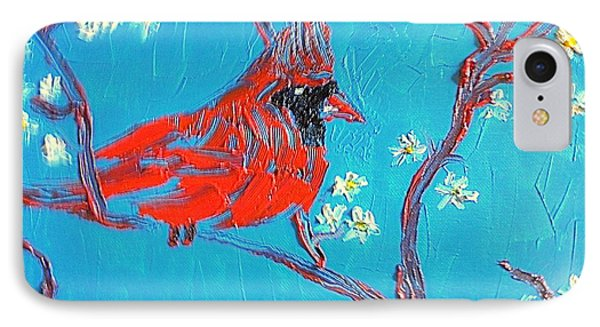 Red Cardinal Spring IPhone Case by Richard W Linford