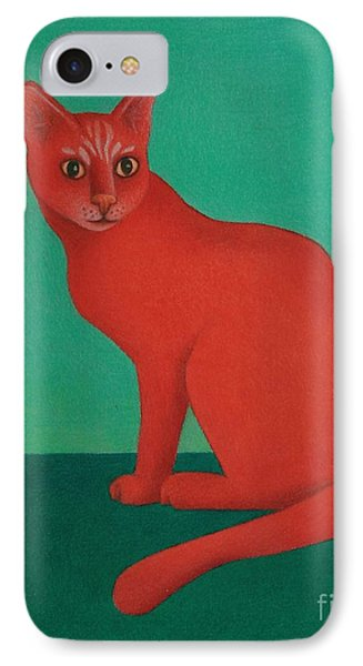 IPhone Case featuring the painting Red Cat by Pamela Clements