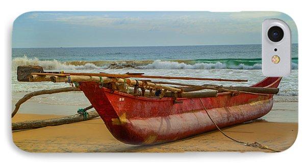 Red Catamaran At The Hikkaduwa Beach Phone Case by Regina Koch